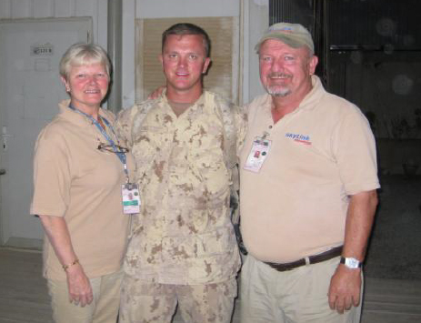 Joshua celebrating his 26th Birthday in Kandahar Afghanistan with his Mom, Dayle and Dad, Bob on 15 Jun 2010