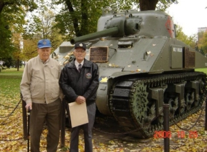 Art Boyle(left) at the Holy Roller in Victoria Park this past November with another WWII 1st Hussar, Phil Cockburn.